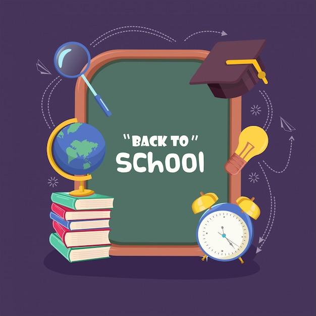 Volta para o fundo da escola com lousa, relógio, qualquer livro, lâmpada e vestido académico design plano Vetor Premium