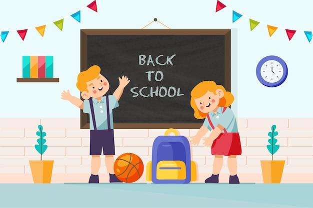 Volta para o fundo da escola com sala de aula Vetor Premium
