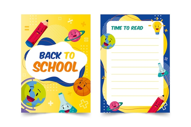 Volta para o modelo de cartão escolar Vetor grátis