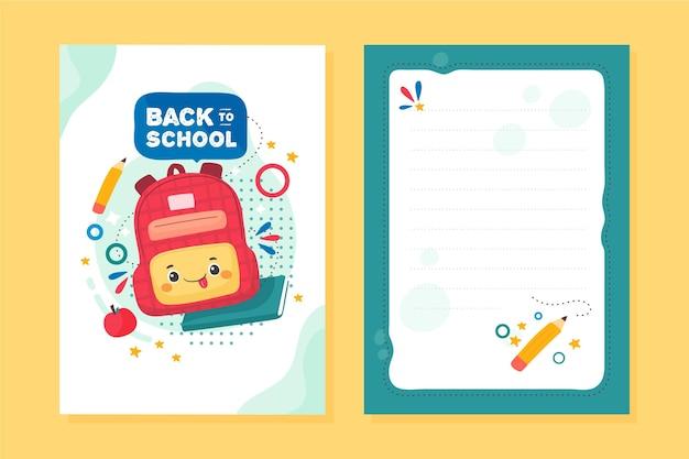 Volta para o modelo de cartão escolar Vetor Premium
