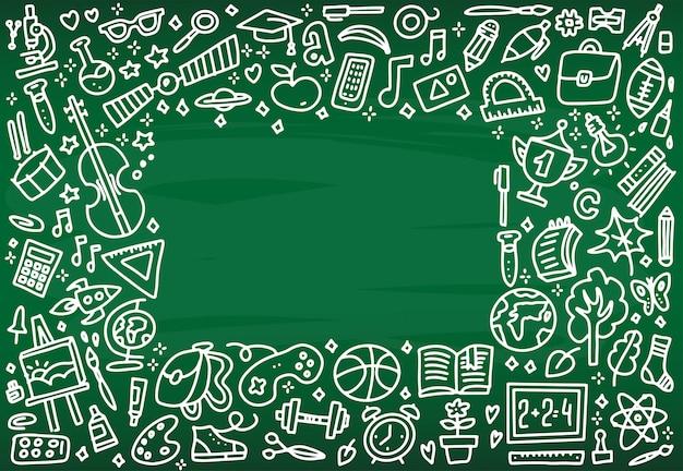 Volta para o quadro de bandeira de escola com textura de ícones de arte de linha de educação Vetor Premium