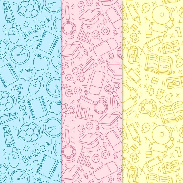 Volta para o tema desenhado à mão padrão de escola Vetor grátis