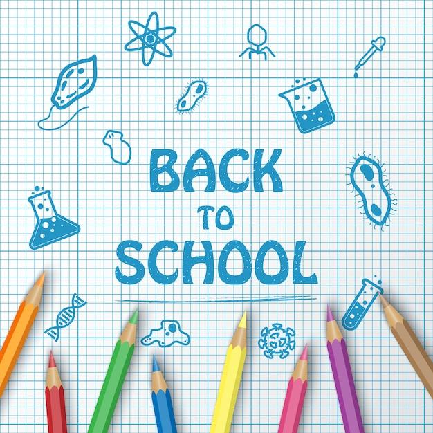 Volta para o texto de escola de desenho no gráfico de papel com itens de escola e elementos e lápis de cor Vetor Premium