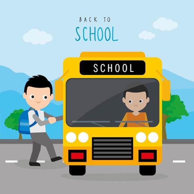 Volta para o vetor de cartoon de estudante de menino de estrada escolar Vetor Premium