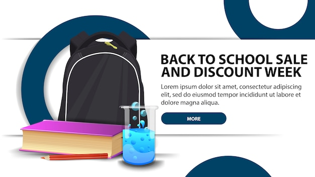Volta para venda de escola e semana de descontos, banner de desconto moderno com design elegante para o seu site com mochila escolar Vetor Premium