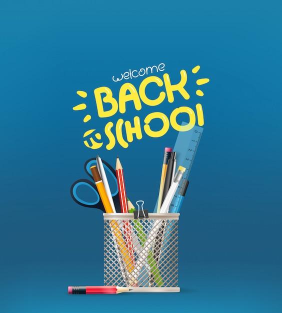 Volta toschool inscrição, elementos de papelaria da escola em uma tabela Vetor Premium