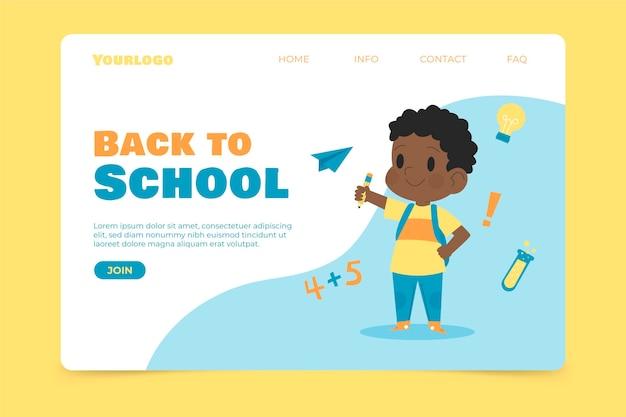 Voltar à escola com a página de destino infantil Vetor grátis