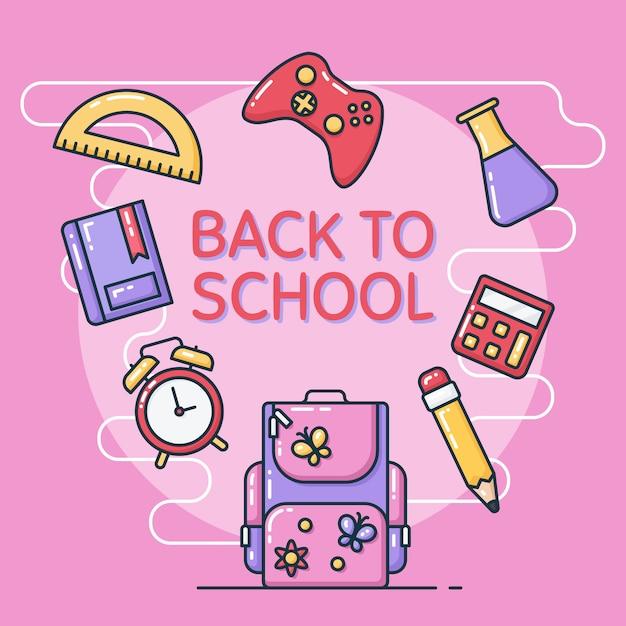 Voltar à ilustração da escola Vetor Premium