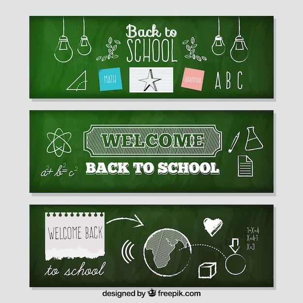 Voltar ao banners da escola estilo quadro-negro Vetor grátis