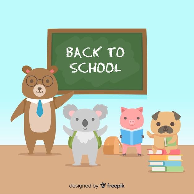 Voltar ao conjunto de animais de escola Vetor grátis