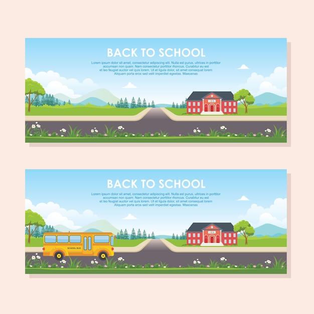 Voltar ao modelo de banner da escola. com prédio escolar, ônibus escolar e paisagem natural Vetor Premium