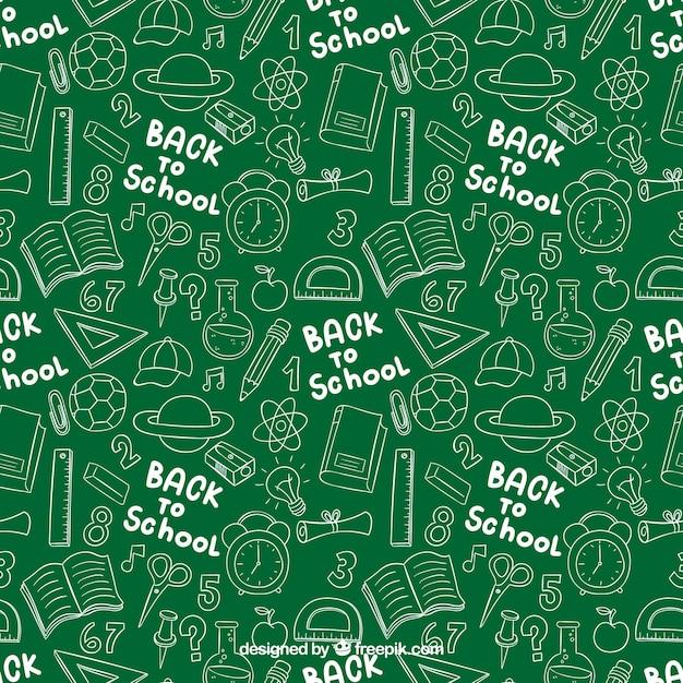 Voltar ao padrão de escola doodles Vetor grátis