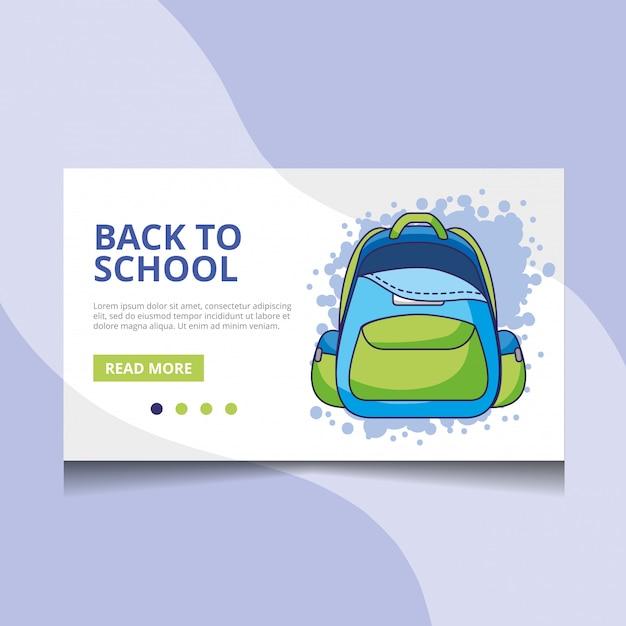 Voltar ao vetor de página de destino de escola Vetor Premium