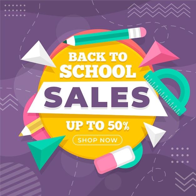 Voltar às vendas de material escolar Vetor grátis