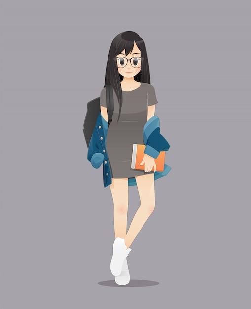 Voltar para a escola, a ilustração de estudantes universitários femininos sorrindo, adolescentes segurando livros para ir para a escola. Vetor Premium