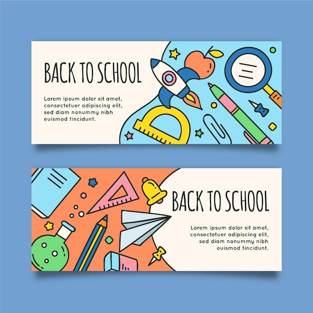 Voltar para a escola banners horizontais Vetor grátis