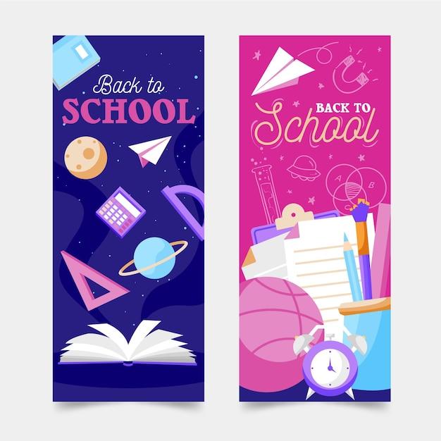 Voltar para a escola banners verticais Vetor grátis