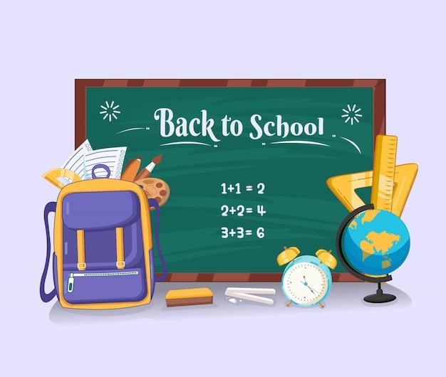 Voltar para a escola com lousa, bolsa, régua de lápis, caneta, pincel, tonalidade, relógio e globo design plano Vetor Premium