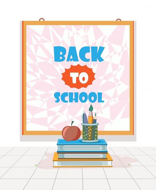 Voltar para a escola com lousa, livro, lápis, caneta, pincel e apple design plano Vetor Premium