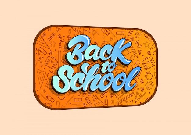 Voltar para a escola comemorar no estilo de letras Vetor Premium