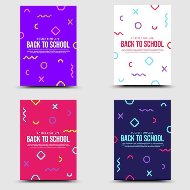 Voltar para a escola definir o estilo de banner memphis Vetor Premium