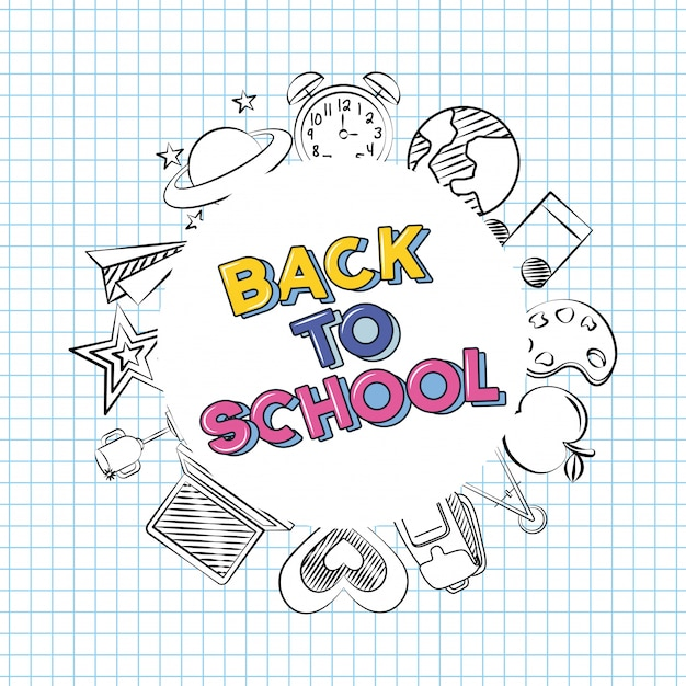 Voltar para a escola doodle elementos da escola sobre uma folha de caderno Vetor grátis