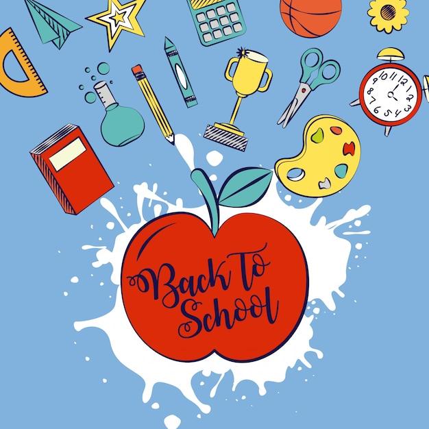 Voltar para a escola em um aplee com ilustração de elementos de escola Vetor grátis