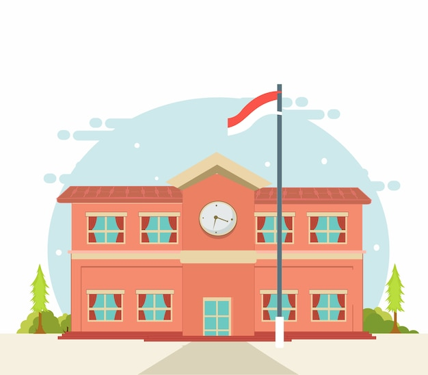 Voltar para a escola, escola edifício design plano Vetor Premium