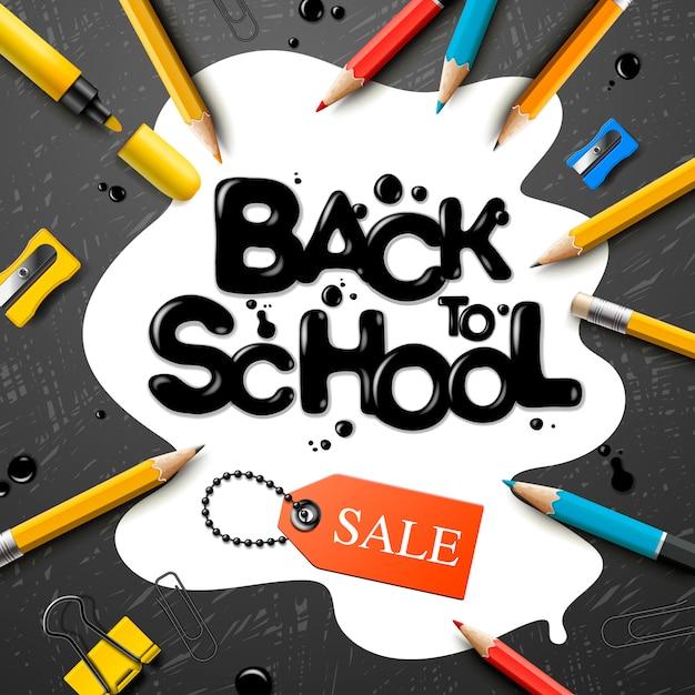 Voltar para a escola projeto de venda com lápis e letras de tipografia. ilustração de escola para cartaz, web, capa, anúncio, saudação, cartão, mídia social, promoção. Vetor Premium