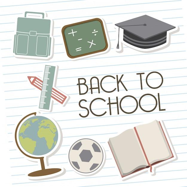 Voltar para a escola sobre ilustração em vetor fundo linhas Vetor Premium