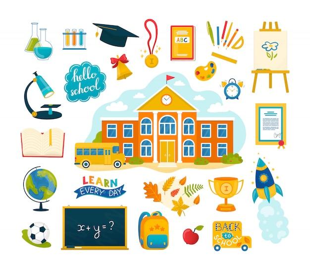 Voltar para a escola um conjunto de ilustrações com coleção de ícones de educação. escola e material escolar, caderno, canetas e lápis, tintas, material de escritório ou material didático, bola, bolsa. Vetor Premium