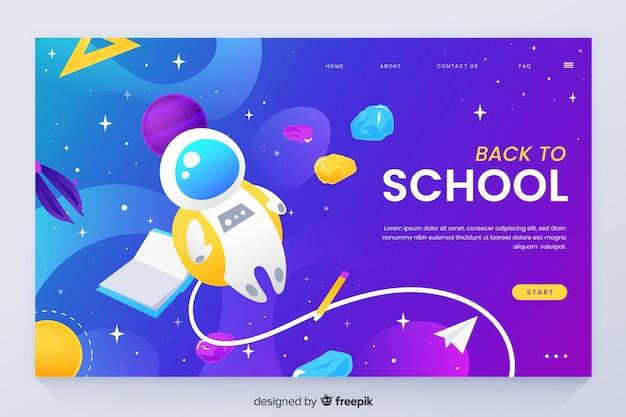 Voltar para a página de destino da escola com o tema do espaço Vetor grátis