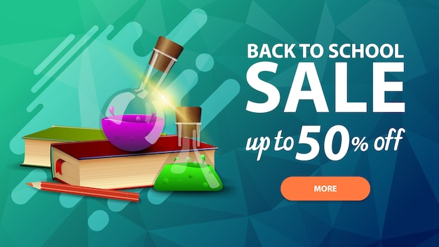 Voltar para a venda da escola, desconto banner web para o seu site Vetor Premium