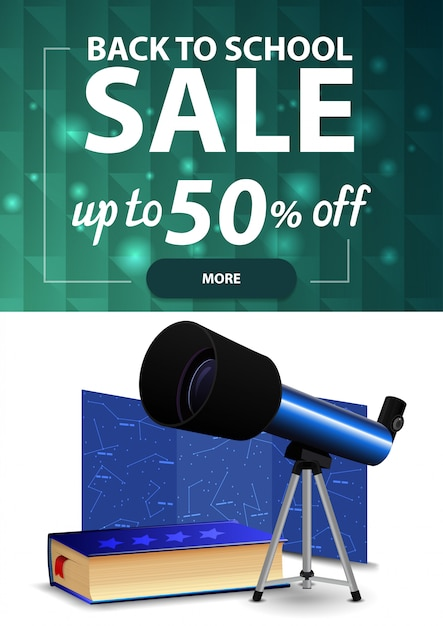 Voltar para a venda de escola, banner de desconto vertical web com textura poligonal, telescópio, um mapa das constelações e a enciclopédia da astronomia Vetor Premium