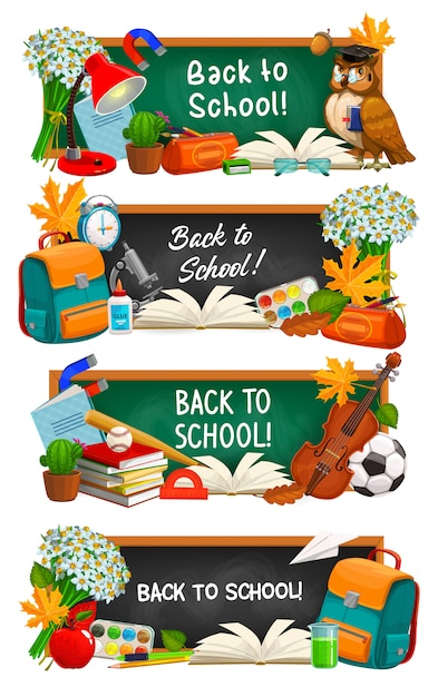 Voltar para banners de educação escolar. lousa de desenho animado com tipografia, lousa verde e preta com bolsa de estudante de material escolar, professor de bola e coruja, flores e folhas Vetor Premium