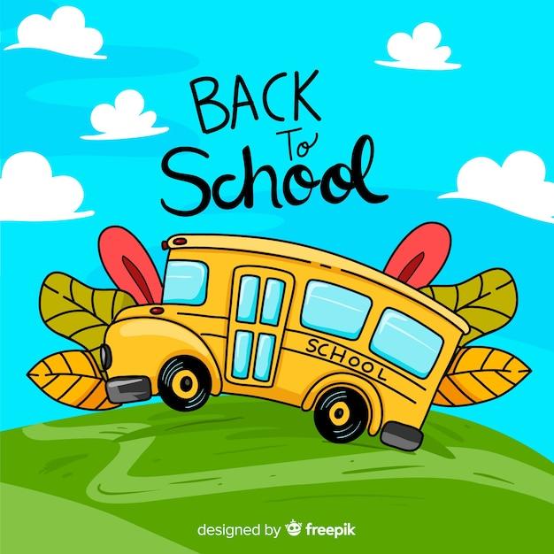 Voltar para ilustração de escola de ônibus escolar Vetor grátis