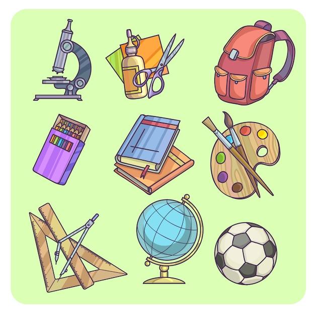 Voltar para material escolar e equipamento de aprendizagem Vetor Premium