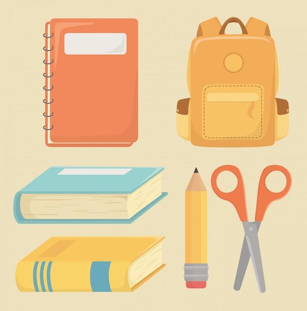 Voltar para material escolar Vetor grátis