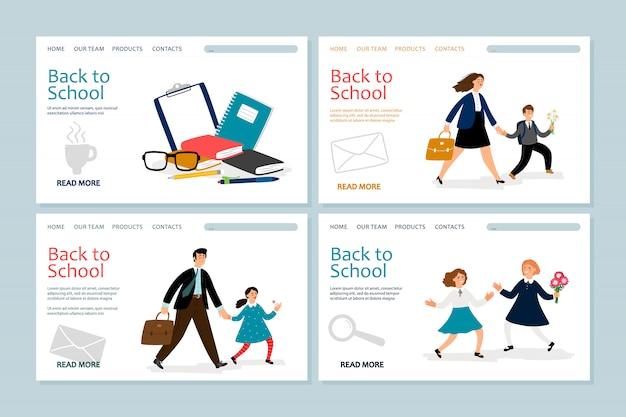 Voltar para o modelo de página de destino da escola. banners com crianças em idade escolar, pais, artigos de papelaria Vetor Premium