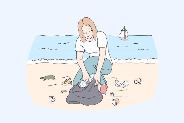 Voluntária limpeza praia feminina, salvar o planeta e a proteção da natureza. jovem mulher coletando garrafas descartáveis plásticas, escolhendo resíduos e lixo na beira-mar. apartamento simples Vetor Premium