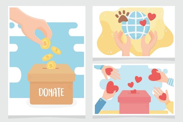Voluntariado, ajude a caridade a doar cartões de proteção para animais Vetor Premium