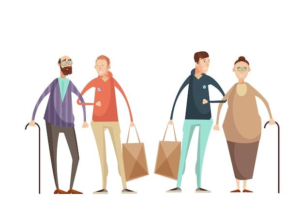 Voluntariado, desenho, conceito, com, homens jovens, ajudando, pessoas idosas, exterior, apartamento, caricatura Vetor grátis