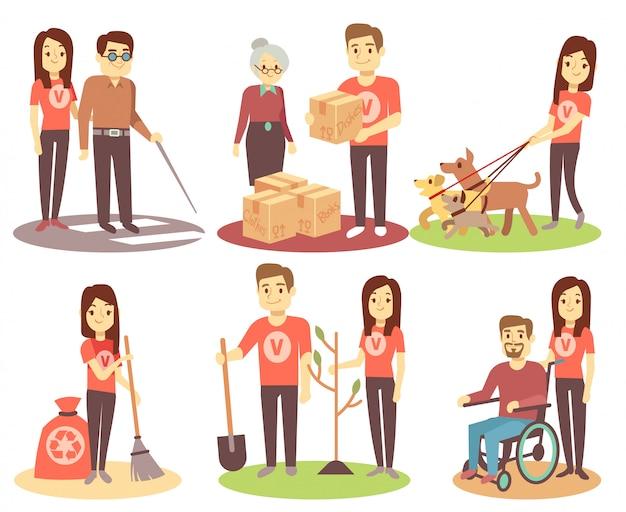 Voluntariado e apoiar as pessoas vector ícones planas com jovens voluntários Vetor Premium