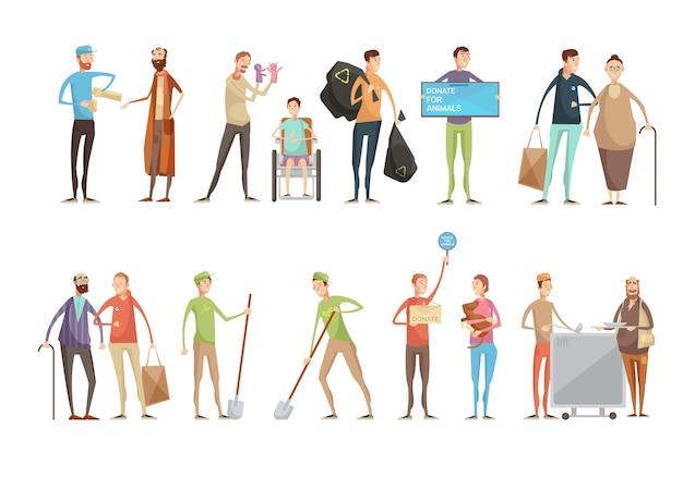 Voluntariado pessoas personagens planas definido com jovens voluntários ajudando animais idosos e deficientes pesso Vetor grátis
