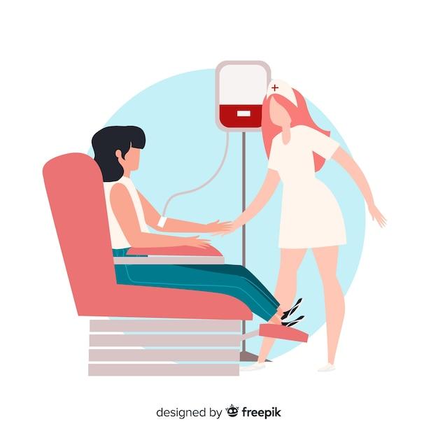 Voluntário de design plano doando sangue Vetor grátis