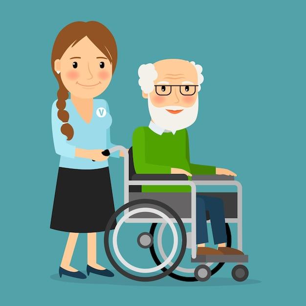 Voluntário, empurrar, cadeira rodas, com, incapacitado, homem velho Vetor Premium