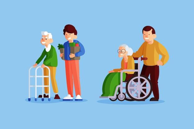 Voluntários ajudando idosos Vetor grátis