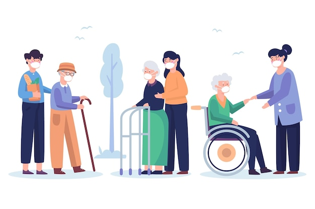 Voluntários ajudando pessoas idosas Vetor Premium