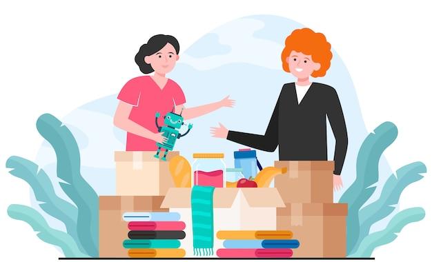 Voluntários generosos doando roupas, brinquedos e alimentos Vetor grátis