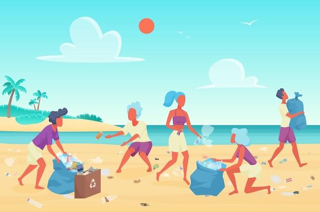 Voluntários limpando lixo plástico na praia, conceito de proteção ambiental Vetor Premium